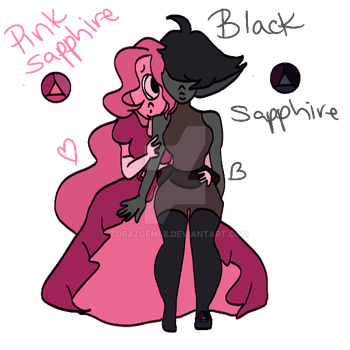 Pink and Black sapphire by topazgem48