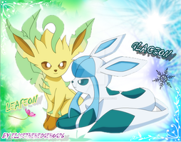LEAFEON AND GLACEON by EliseTheHedgehog26
