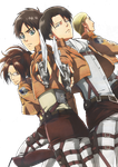 Levi, Hanji, Irwin and Eren render by lextranges
