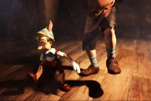 Geppetto and Pinocchio dancing by kalashnik33