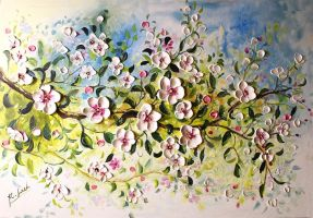 Bloosom Apple tree branch by Kasia1989