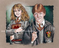 Hermione and Ron by scotty309