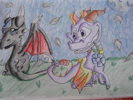 Spyro and Cynder by IcelectricSpyro