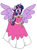 Princess Twilight Holding Her Gown by LorettaFox