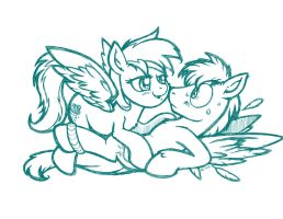Silver and Sparky (sketch) by LateCustomer