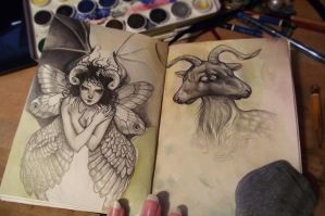 Sketchbook - multiwinged girl and creepy goat by aeryael