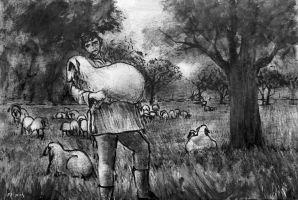 Shepherd and sheep by Boias