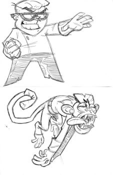 Dexter and Monkey sketch by JERALDOLEWIS2