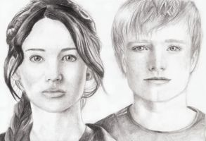 Hunger games/Peeta and Katniss by RomcaS