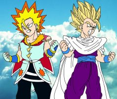 The Golden Super Warriors - PatchBobo and Gohan by MargaritaTaichou