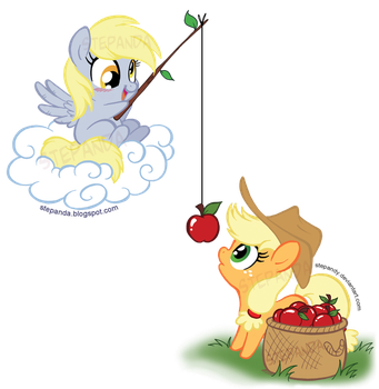 Derpy and Applejack by StePandy