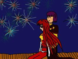 Xellos and Lina watching Fire works (WIP) by milissaroland