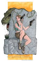 Lara Croft and T Rex colors by gravyboy