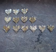 Mechanical Heart Pendants by AMechanicalMind