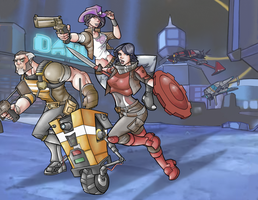 Borderlands: The Pre-Sequel characters in color by davidstonecipher