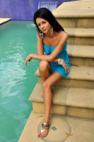 Tara - blue dress at pool 1 by wildplaces