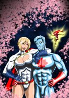 Three's a Crowd - Power Girl, Captain Atom, Maxima by adamantis