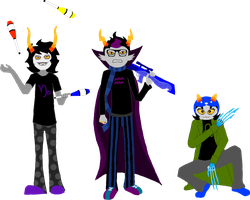 Gamzee, Eridan, Nepeta Poses by Fluffiness777