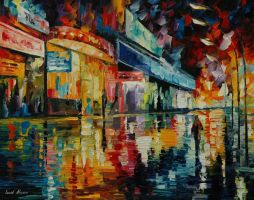 Loneliness in the city by Leonid Afremov by Leonidafremov