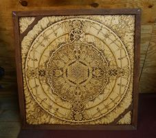 Galactic Time Clock (Pyrography on 4' x 4' Birch) by Hipnosha