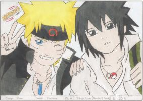 Naruto y Sasuke Color (-Konoha High school vers-) by Saya-07