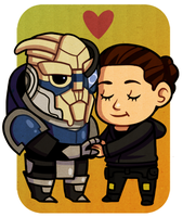 Chibi Shep and Garrus by Batata-Tasha