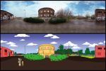 Juxtaposed gasometer photo and gasometer cartoon by 3litza