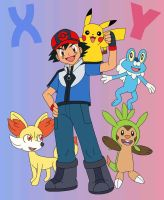 Ash, Pikachu, Chespin, Fennekin and Froakie by MCsaurus