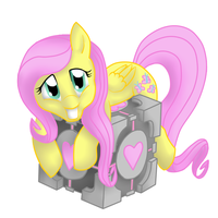 fluttershy with companion cube by Veskler