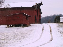 Red Barn in Snow by uberbechin