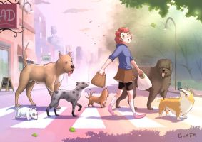 Dogs crossing the street by Erick-FM