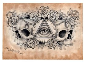 Illuminati and Skull chest tattoo design (scanned) by kirstynoelledavies