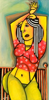 Woman in Red Blouse by Golzad