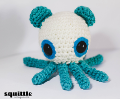 Blue Panda Bear Octopus by Squittle Amigurumi by tiny-moon