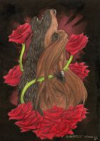 The Wolf With The Red Roses by Demonic-Haze