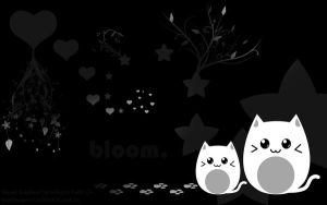 black-white kitties-wallpaper by haine905