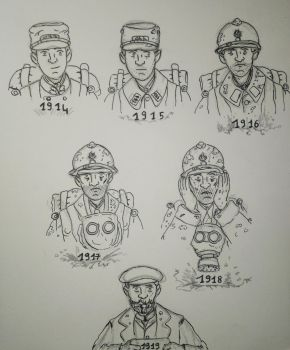WW1 Evolution d'un poilu \ Evolution of a Poilu by Gozac1198
