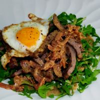 Steak with Arugula and Bacon Mustard Vinaigrette by chef-chad