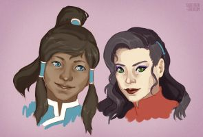 Korra + Asami Headshots by Shattered-Earth