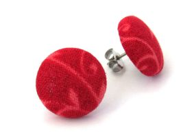 Stud earrings dark red burgundy button carmine by KooKooCraft