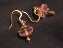 pink and gold earrings by Galasdian