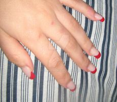 Red French Manicure by chennifer