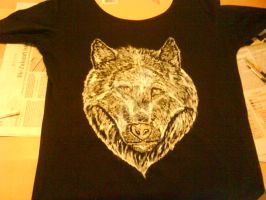 Hand painted Arctic Wolf shirt by ArcticIceWolf