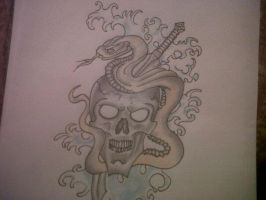 Skull and snake drawing by Richyreynolds