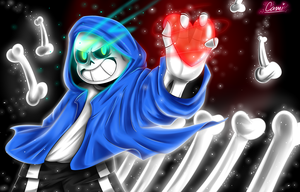 Sans with Frisk's soul! by CamilaAnims