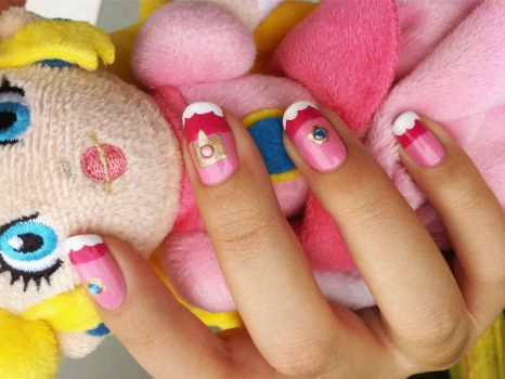 Princess Peach Nails by Windelle