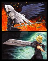 sephiroth and cloud by EatToast
