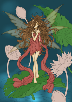 Fairy and Waterlilies by Vipvoo