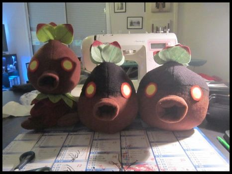 Deku Scrub plushies V4 and V5 WIP by Miss-Zeldette
