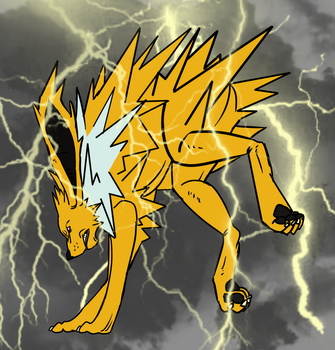 Blitza/Jolteon + Background by CourageOfWarrior